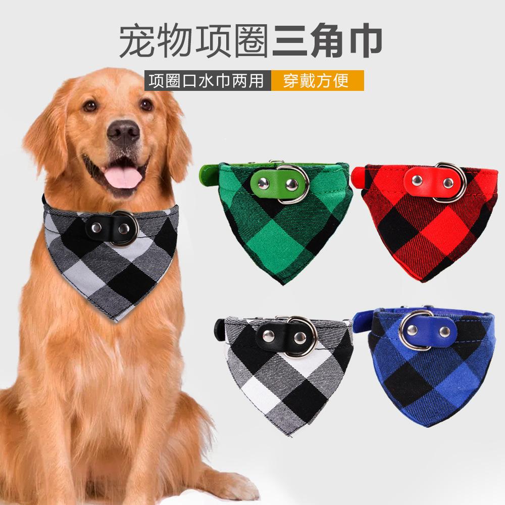 Polyurethane Plaid Triangular Pet Scarf for Good Pets