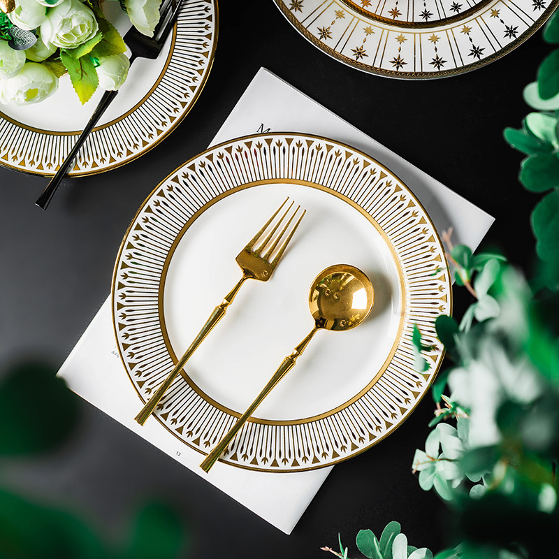 Exquisite Patterns White Ceramic Plate for Celebratory Dinner