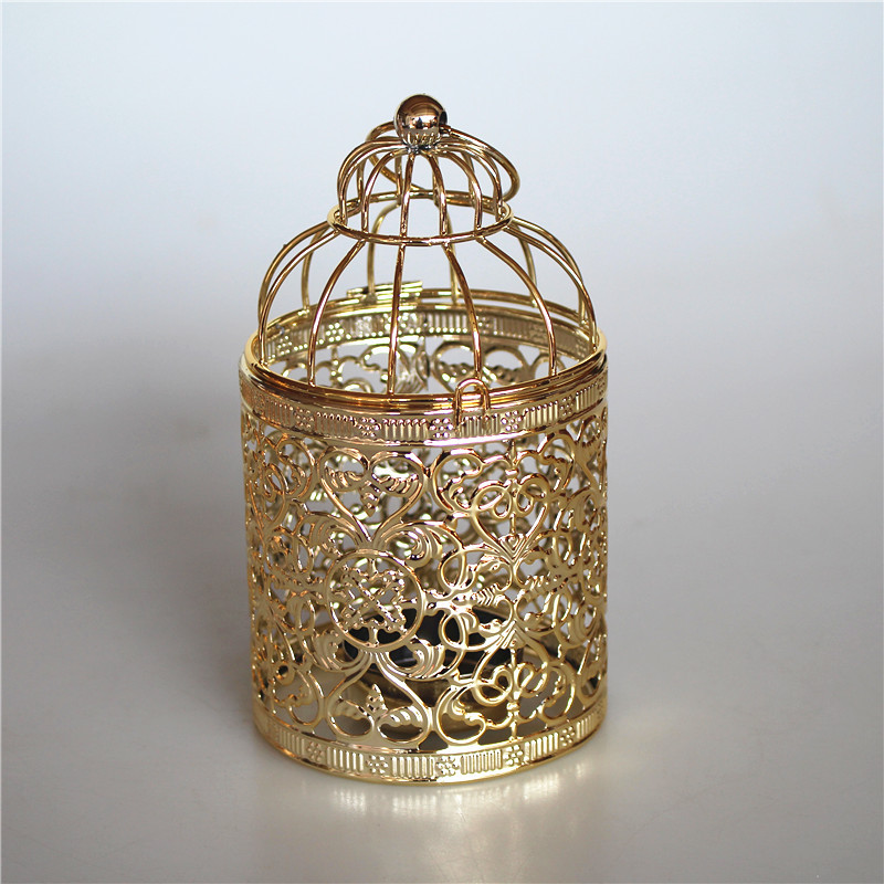 Gold Plating Metal Craft Bird Cage Shaped Candlestick for Home Decoration