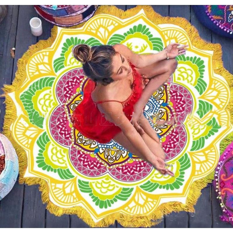 Floral Mandala Beach Towel with Tassels/Poms for Stunning Beach Photos