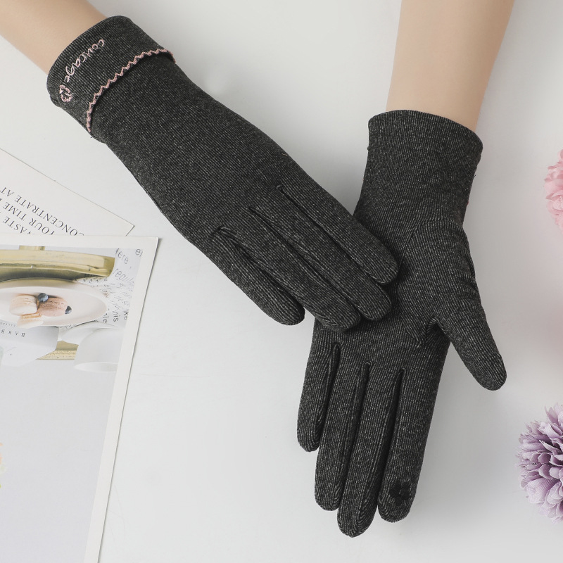 Appealing Pure-Colored Embroidered Gloves for Students Winter School Wear