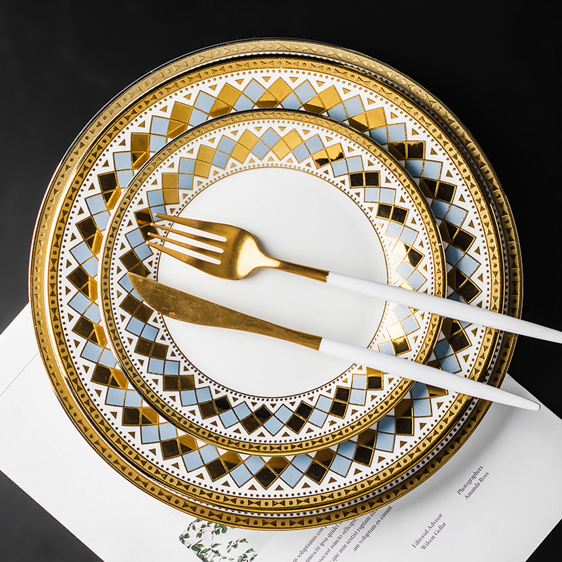 White with Golden Touch Ceramic Plate for Fancy Parties