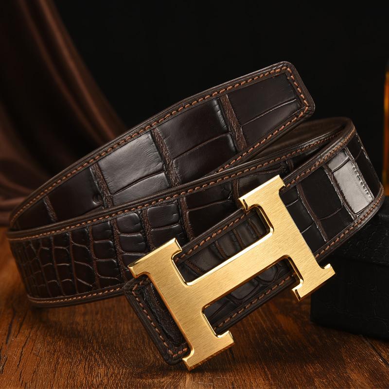 Harry 'H' Buckle Genuine Leather Belt