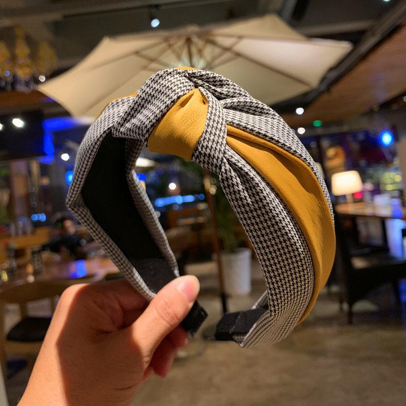 Honey Houndstooth and Plain Cloth Knot Headband