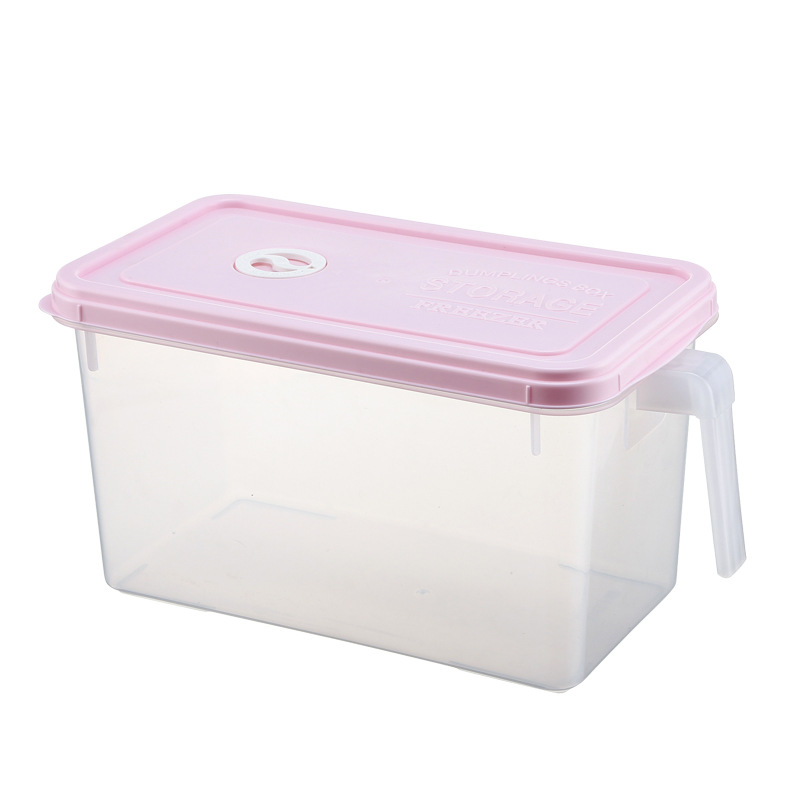 Plastic Storage Box with Handle for Organized Refrigerators