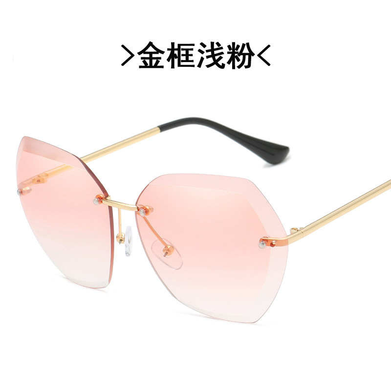 Cool Frameless Diamond Trim Sunglasses for Summer Outfits