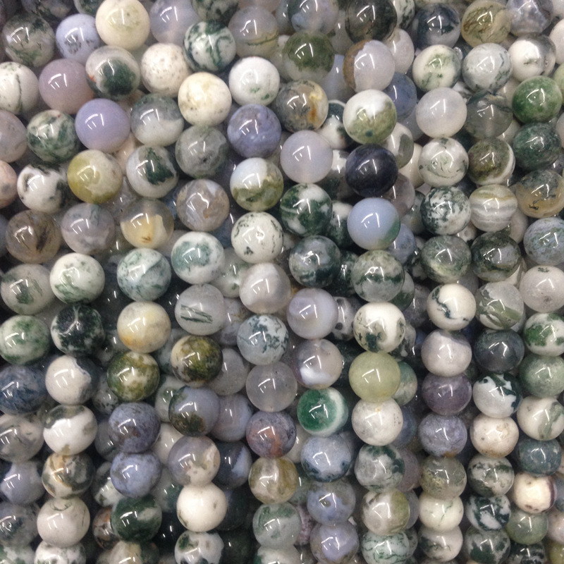 Green Tinted Synthetic Agate Beads