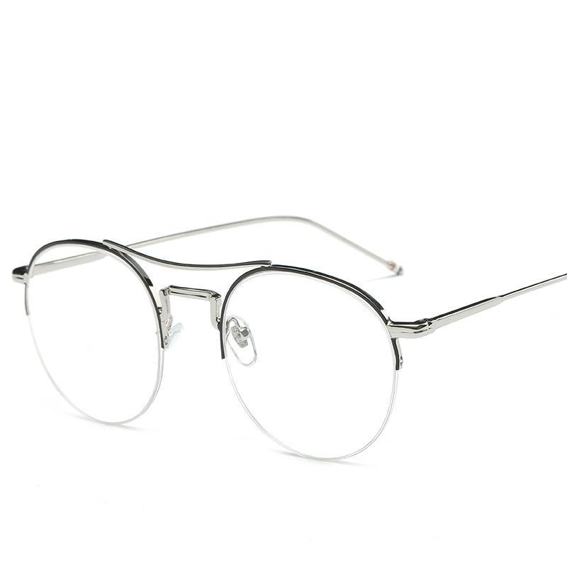 Half Metal Frame Round Eyeglasses