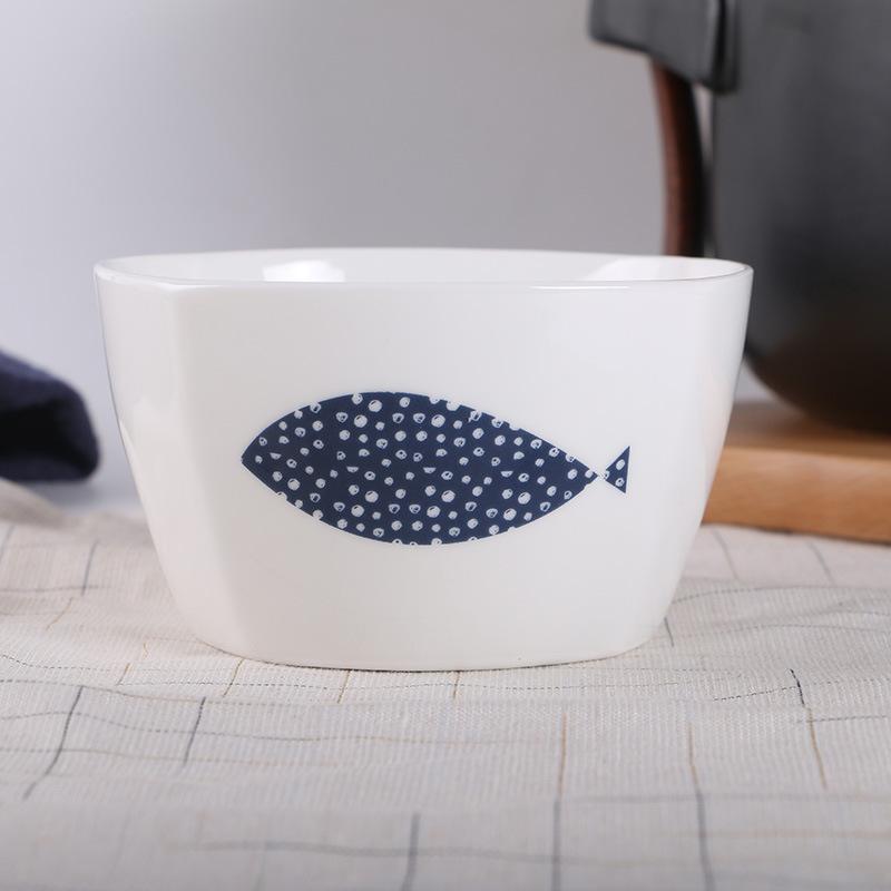 Blue Fish Trapezoidal Bowl