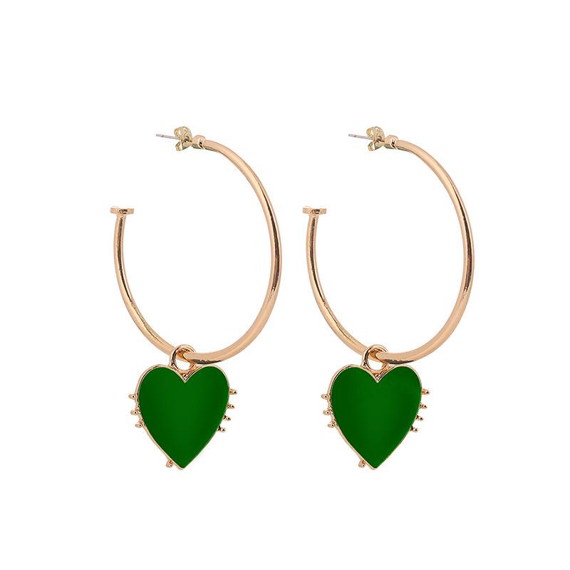 Triz Color Heart Faux Hoop Earrings