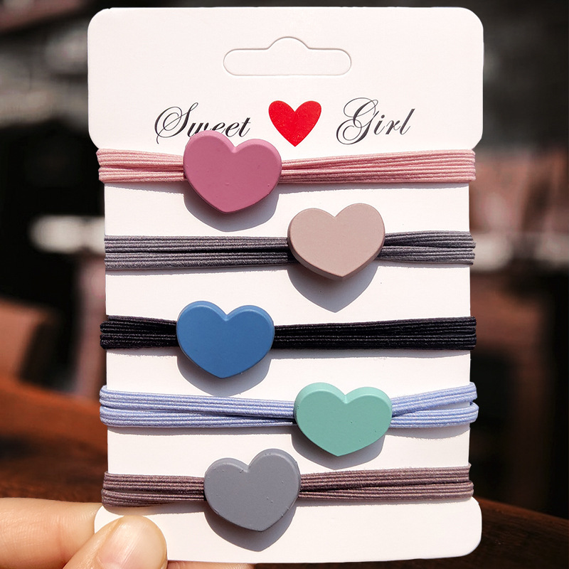 Sweet Girl Heart Hair Tie Set (5 Pieces/Set)