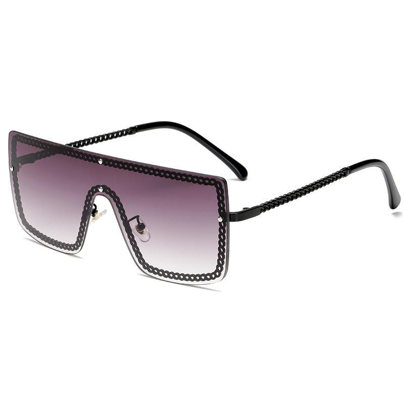 Chain Eye Rimmed Shield Sunglasses