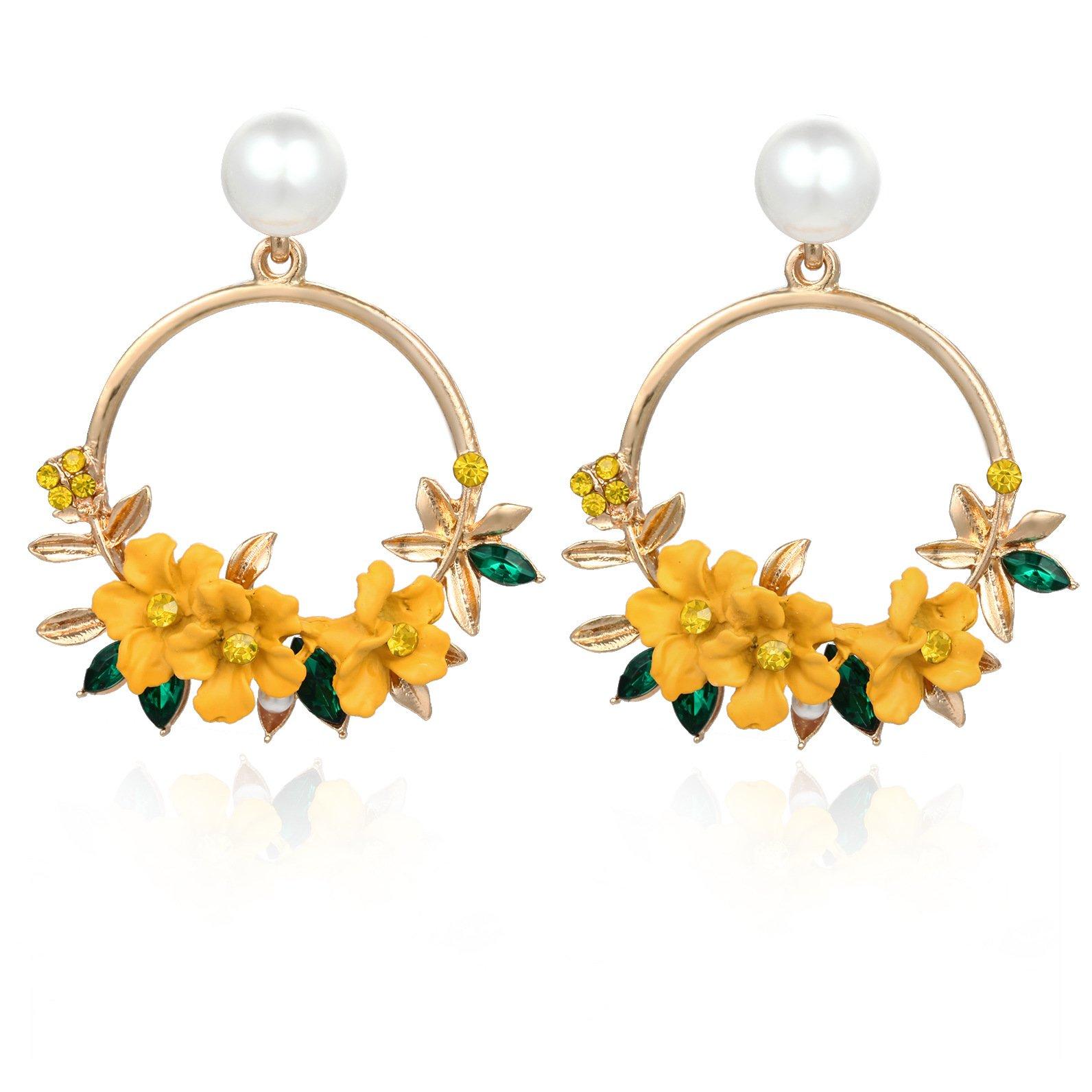 Fab Flowers on Hoop Earrings